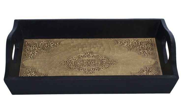 Wooden Serving  Tray Set Of 3 In Black Finish With Brass Fitting