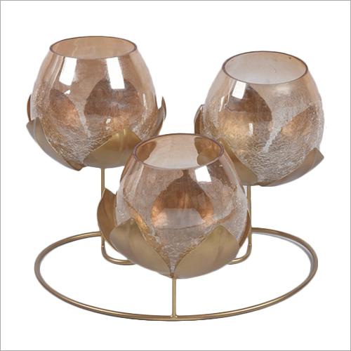 3in1 Glass Flower Tea Light Candle Holder