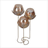3in1 Glass Flower Tea Light Holder with Flower Stand
