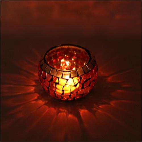 Maroon-Golden Mosaic Tea Light Candle Holder