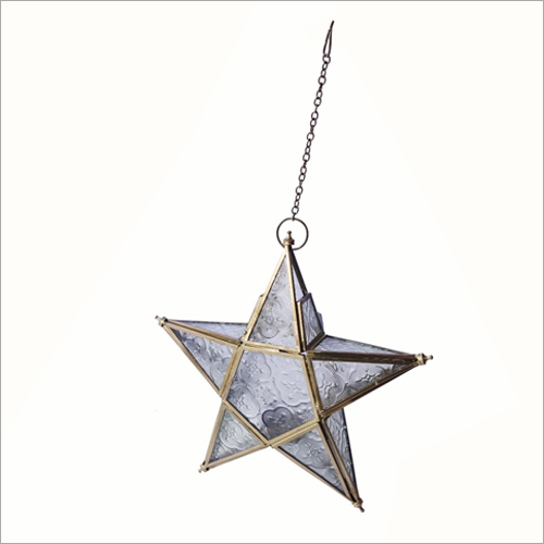 Wall Hanging Brass-White Tea Light Candle Holder Star