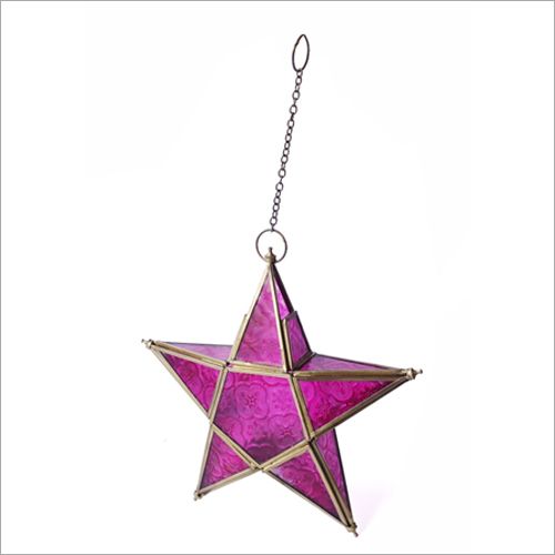 Brass-Pink Tea Light Candle Holder Star