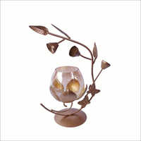 Glass Tea Light Candle Holder with Leaf Stand