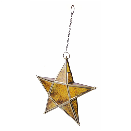 Wall Hanging Brass-Yellow T Light Candle Holder Star