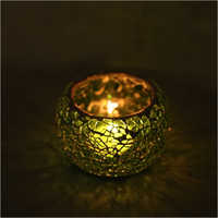 Green-Golden Mosaic Tea Light Candle Holder