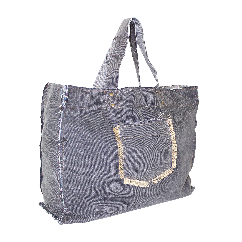 Washed Denim Tote Bag