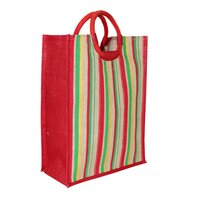 PP Laminated Jute Tote Bag With Round Padded Rope Handle