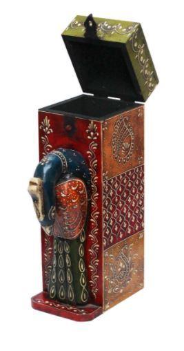 Wooden Wine Box Decorative Peacock Handmade
