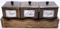 Wooden Handicraft Kitchen Caddy Storage Box Set