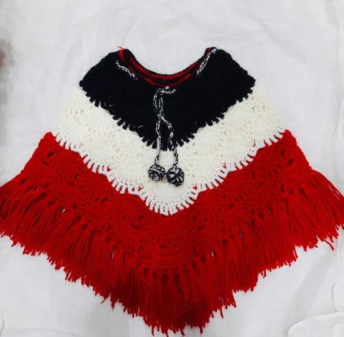 Tri-color Woolen Girls Poncho