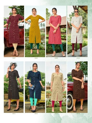 Slub Ikkat Ruby Slub Kurti Catalogue Set