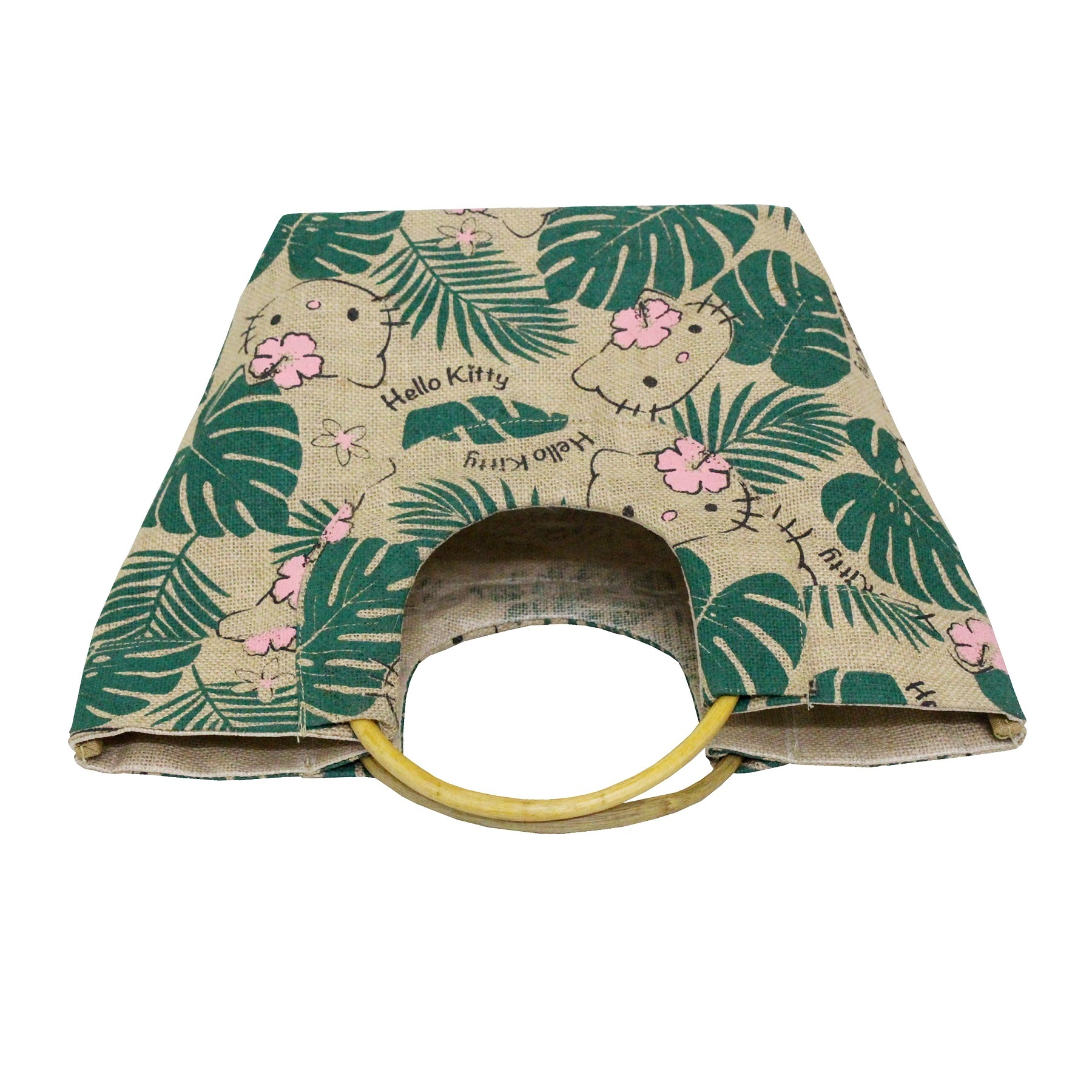 PP Laminated Jute Beach Bag With Round Wooden Cane Handle