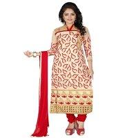Jheenu Women's Chanderi Embroidered Unstitched  Dress Materials