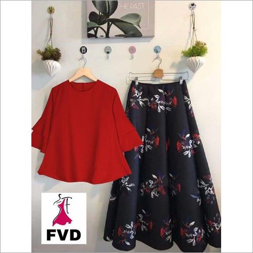 Ladies Floral Printed Plazzo Kurti With Top
