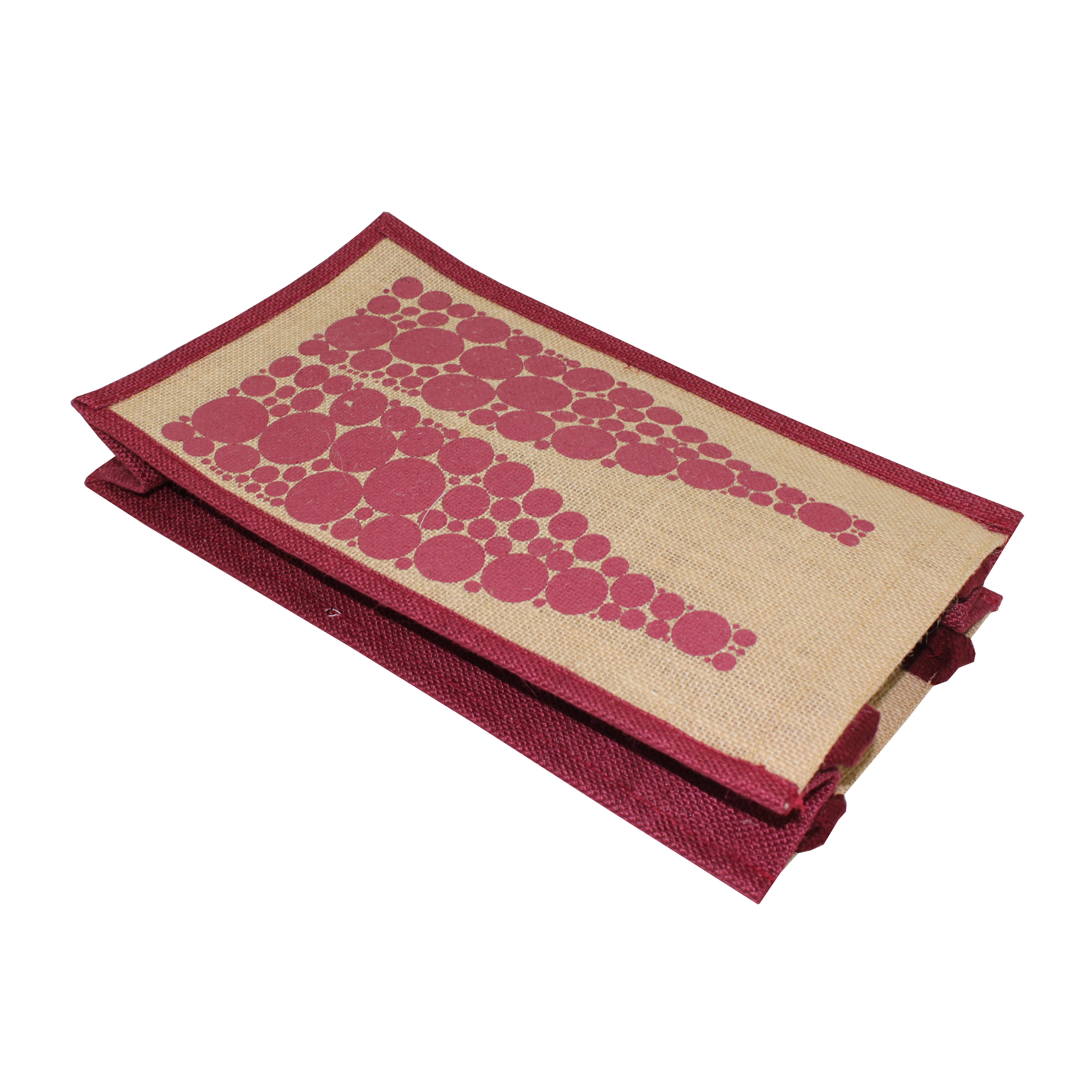 PP Laminated Jute Two Bottle Wine Bag With Padded Rope Handle