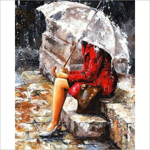 Girl In Rain Handmade Oil Painting