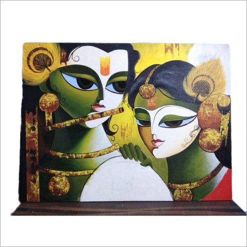 Radha Krishna Modern Art Handmade Oil Painting