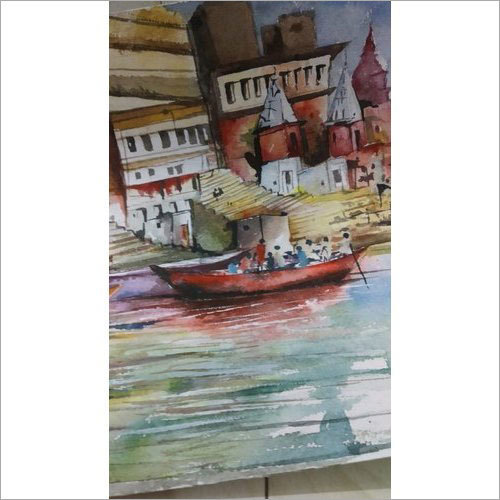 Varanasi Panning Shot Handmade Water Color Painting