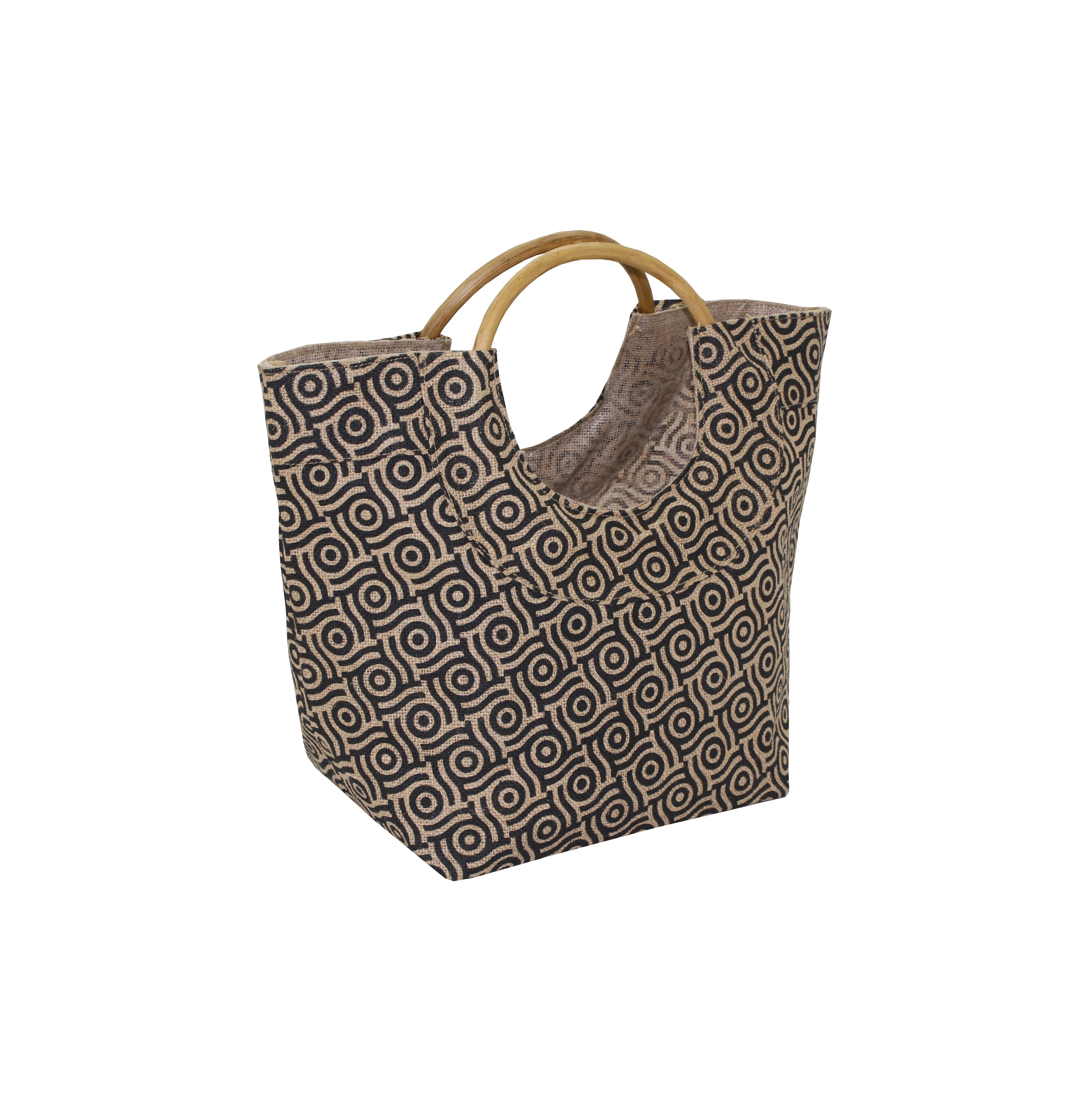 Pp Laminated Jute Bag With Round Wooden Cane Handle