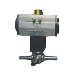Extended Nipple 3 way Pnumatic Ball Valve