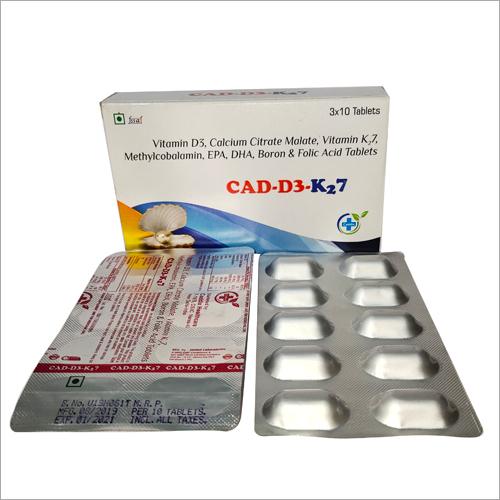 Vitamon D3 Calcium Citrate Malate Vitamin K7 Methylcobalamin EPA DHA Boron and Folic Acid Tablets
