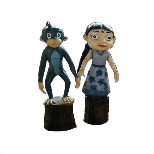 FRP Jaggu And Chutki Cartoon Statue