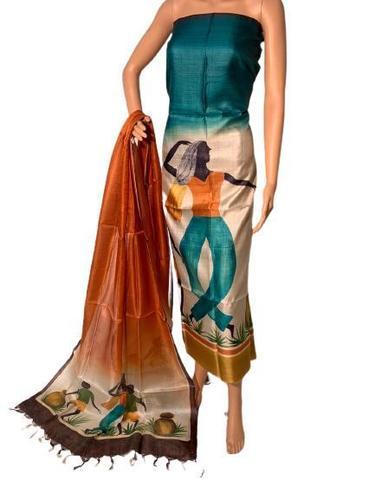 Pure Tussar Silk Hand Painted Kurti Dupatta Set