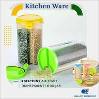 3 Section Air Tight Transparent Food Jar