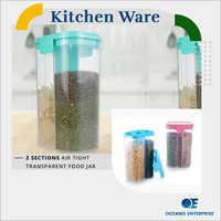 2 Section Air Tight Transparent Food Jar