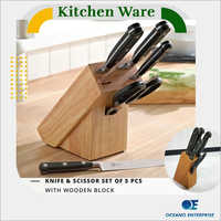 5 Pcs Knife And Scissor Set Of 5 With Wooden Blaock