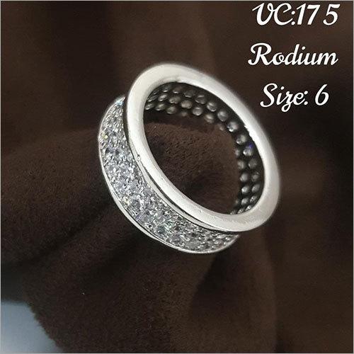 Rodium Size 6 Finger Ring