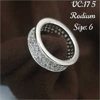 Rodium Size 6 Finger Ring