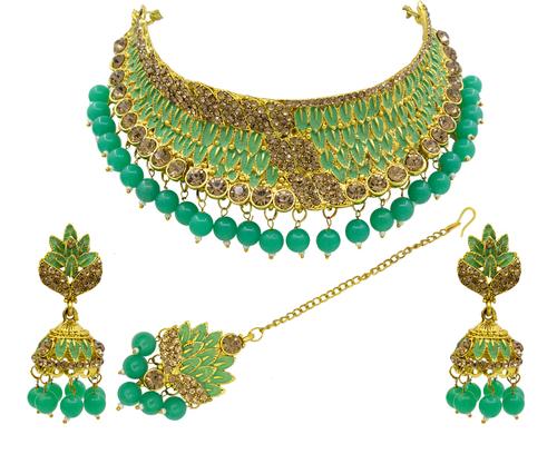 Gold Plated Meenakari Choker Necklace Set For Women & Girls