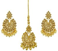 Gold Plated Kundan & Pearl Maang Tikka Earring Set for Women Girls