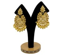 Gold Plated Kundan & Pearl Maang Tikka Earring Set for Women Girls