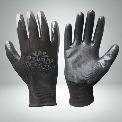 Black Nitrile Palm Coated Gloves