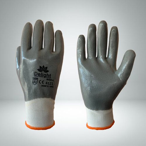 Grey Nitrile Full Coated Gloves