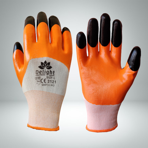 Orange Black Nitrile Coated Gloves