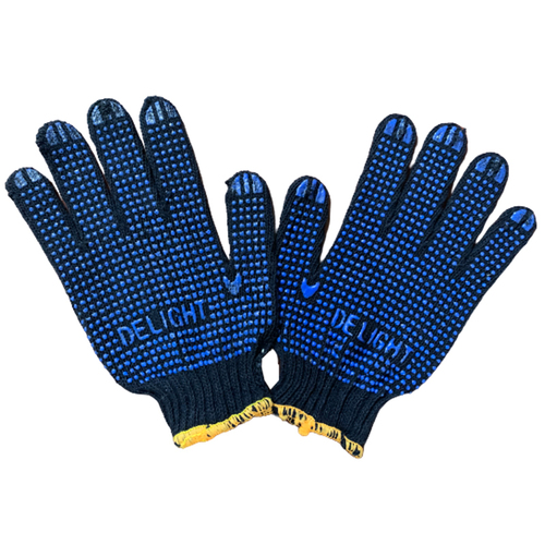 Blue Cotton Dotted Gloves