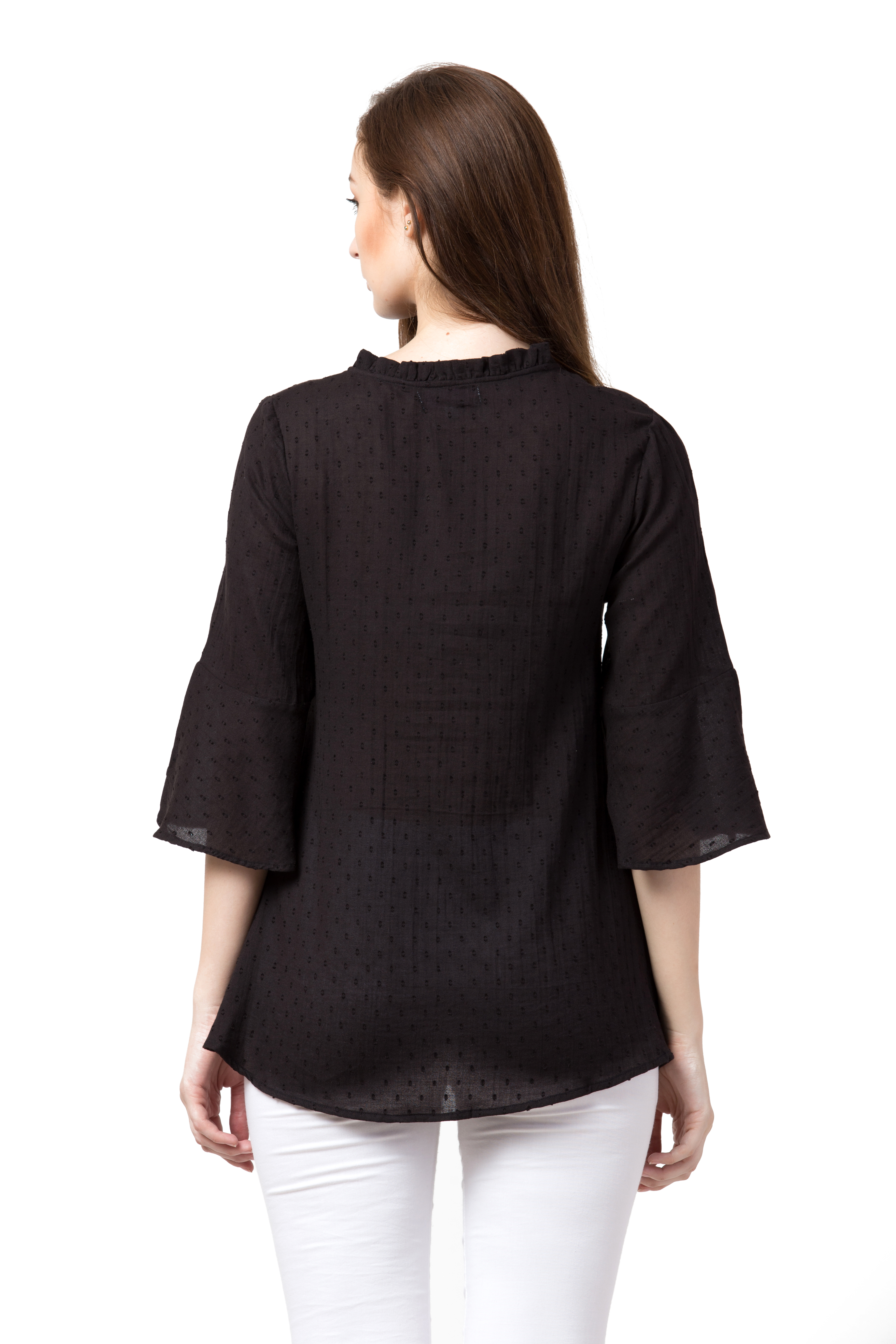 Solid Keyhole Neck Top For Women
