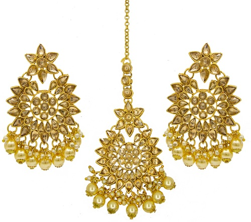 Traditional Jewellery Gold Plated Kundan & Pearl Maang Tikka Earring Set for Women Girls