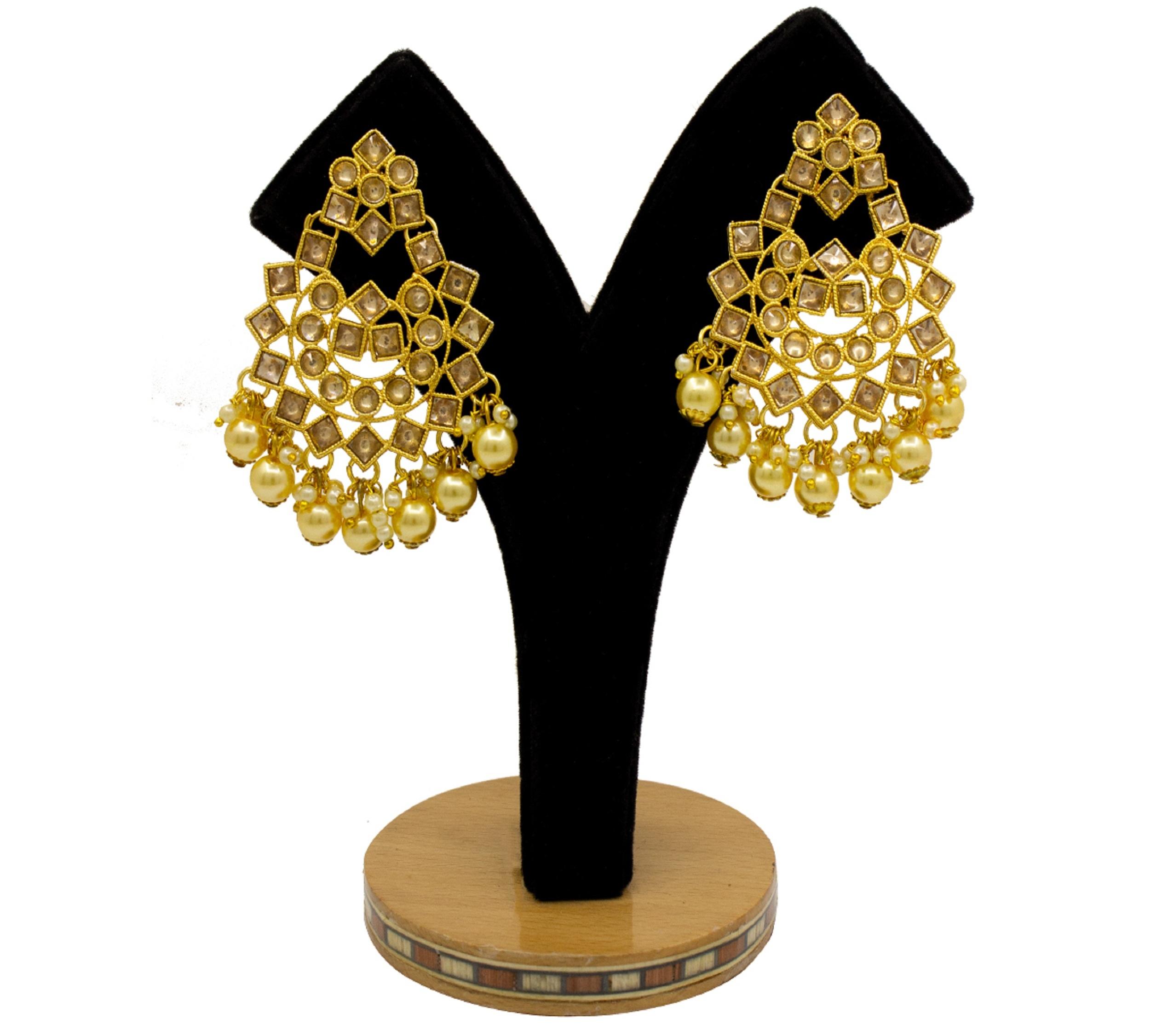 Traditional Jewellery Gold Plated Kundan & Pearl Maang Tikka Earring Set for Women Girls