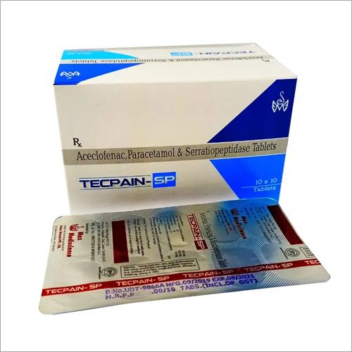 TECPAIN SP TABLET Aceclofenac Paracetamol and Serratiopeptidase Tablets