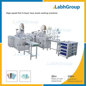High Speed Flat 3-layer Surgical Face Mask Making Machine