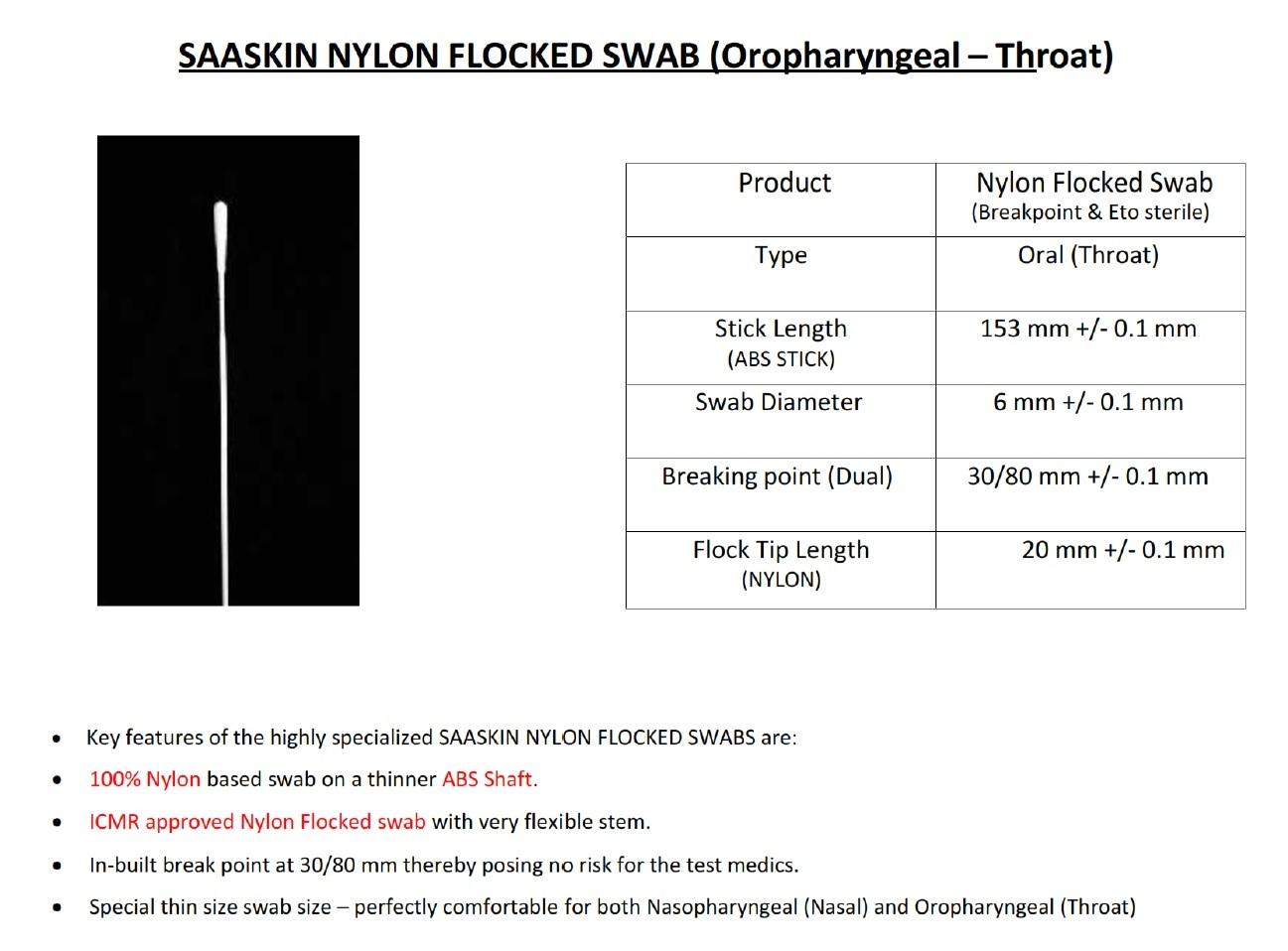 Nylon Flocked Swab Stick