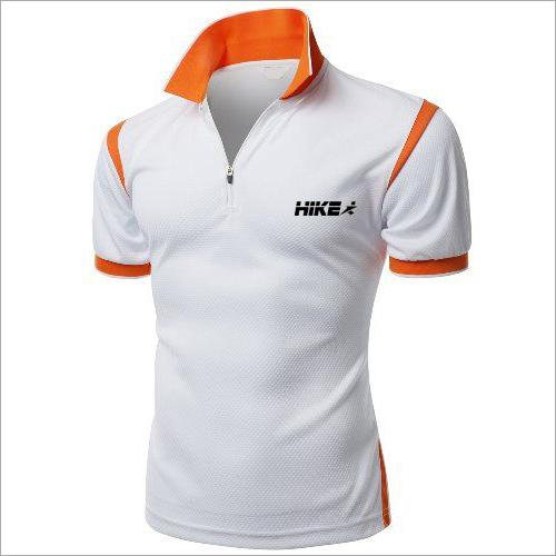 Orange Lining White Sports T-Shirts
