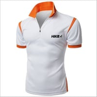 Orange Lining White Sports T-Shirts