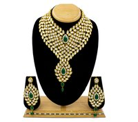 Attractive New Design Gold Plated Necklace Set For Women (Green & White)