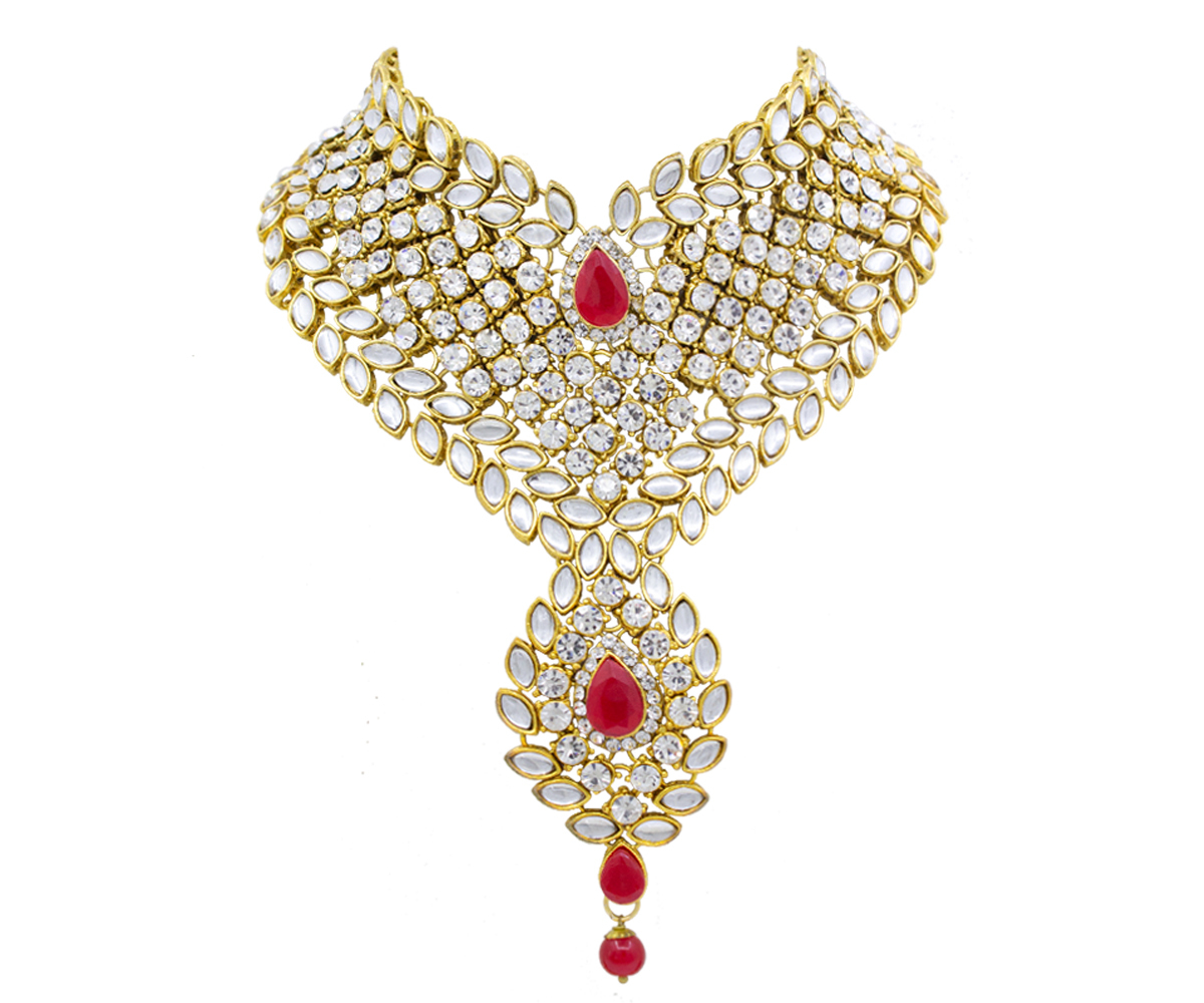 Attractive New Design Gold Plated Necklace Set For Women (Red & White)