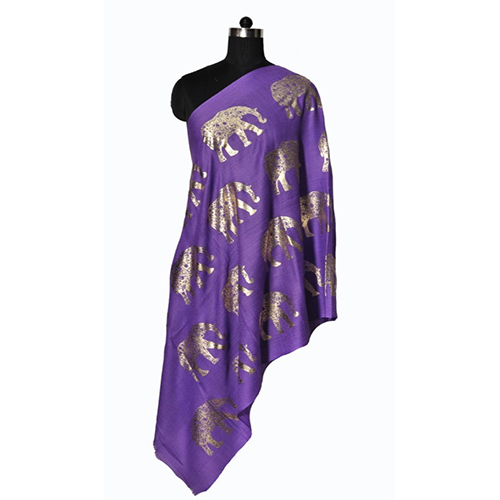 Fine Wool Foil Printed Stole